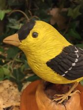 Art Carved Bird Signed 661-B Ricco Gold finch