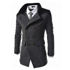 Mens Pea Coat Warm Wool Blend Double Breasted Dress Jacket Peacoat Outwear Tops.