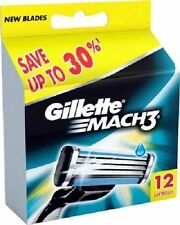 Gillette Mach 3 Cartridges 12 Razor Blades Shaving (1 Set of 12)