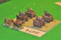 15mm medieval / hussite - 4 war wagons & 2 draught teams - baggage (46801)