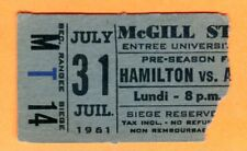 EXTREMELY RARE TICKET STUB-7/31/61 CFL MONTREAL ALOUETTES/HAMILTON TIGER-CATS