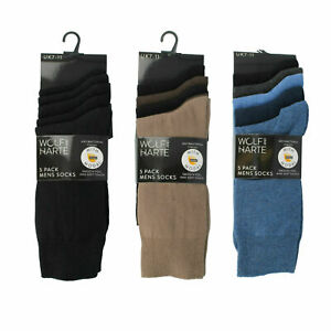 Mens Wolf & Harte Socks Pack Of 5 Smooth Feel Sofe Touch SK043