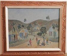 OLD Haitian Listed Artist Fine Art OIL PAINTING Primitive Artwork Carved Frame