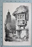 1827 Datierter Antik Aufdruck Ruiniertem Gebäude Mit Kirche Verlag Von Dickinson