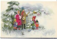 Vintage Christmas Card Family Sings Carols Unused With Decorated Envelope