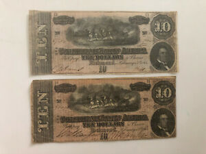 TWO 1864 $10 DOLLAR CONFEDERATE STATES CURRENCY CIVIL WAR NOTE