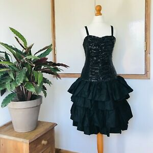 Vtg 80s Black Sparkly Sequin Strappy Frilled Ra-Ra Party Dress 8