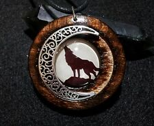 Wolf and Moon Pendant in Burnt Oak, Wolf and Moon jewelry, Wolf Totem Necklace