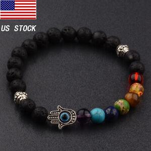7 Chakra 8mm Natural Stone Beaded Reiki Yoga Energy Women Mens Bracelets Jewelry
