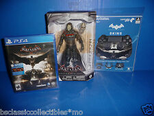 Batman Arkham Knight Scarecrow Figure + PS4 Video Game + Controller Skin Set NEW