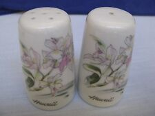 White Porcelain Souvenir Salt & Pepper Shakers w Orchids Flowers Signed Hawaii