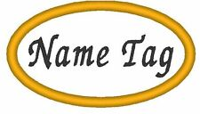 "Custom Embroidery 3.70"" x 1.75"" OVAL Name Tag Patch Motorcycle Biker #018"