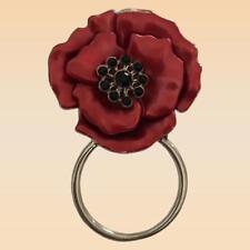 NEW Red & Black Crystal Poppy Eye Glasses Holder Brooch