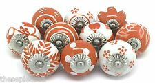 10 These Please Ceramic Knobs SECONDS Door Cupboard Vintage Look Orange White K4