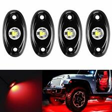 4PCS Red LED Rock Lights Under Body Glow Trail Rig Lamp for JEEP ATV SUV Truck