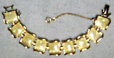VINTAGE GOLD TONE CONFETTI THERMOSET BRACELET WITH SECURITY CHAIN ~SIGNED: CORO