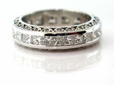 3.24 CT Natural  Princess & Round Cut Lady's Diamond Eternity Band 14K WhiteGold