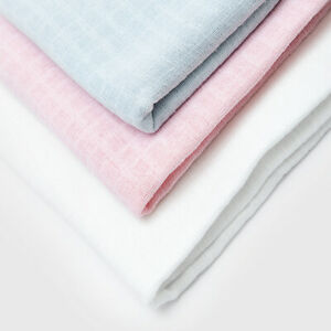 Bee Bo Extra Large Muslin Squares White Blue Pink Soft Baby Burp Cloth Pack Of 2