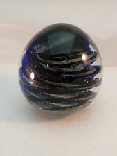 Vintage Jamala Walters Blown Glass Paperweight Signed Blue Purple Swirl Egg