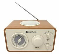 SINGING WOOD Retro Wood AM FM Radio with Bluetooth and Aux-in Jack (Beech Wood)