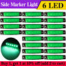 20 Pcs Green 6 LED Side Marker Indicators Lights for RV Lorry Truck Trailer 12V
