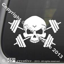 Weight Trainer Crossbones Decal - weight lifting bar set dumbbells skull sticker