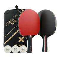 EE_ 2Pcs Professional Table Tennis Racket Ping Pong Bat w/ Paddle Bag 3 Ball Sig