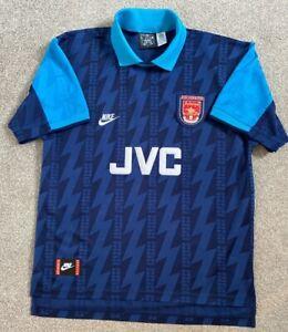 VINTAGE ARSENAL FC FOOTBALL CLUB 994-1995 NIKE JVC BLUE AWAY SHIRT JERSEY XL