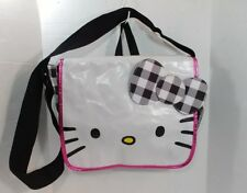 Hello Kitty Sanrio Black White Check Bow Messenger Satchel Laptop Crossbody Bag
