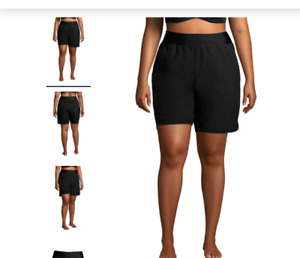"Lands' End Plus 9"" Quick Dry Elastic Waist Board Shorts Swim Cover-up Black 20W"
