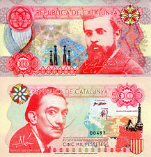 SPAIN 5000 Pessetes Fun-Fantasy Note Antoni Gaudi Salvador Dali 2016 Issue