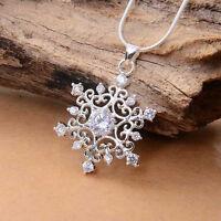 Frauen Schöne Cubic Snowflake Schnee Halskette Kette Collier Gem Strass  w/