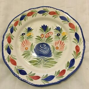 Henriot Quimper France Plate Blue Green Red Yellow Flowers F6 DFB EB