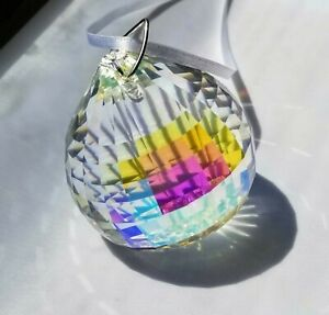 Crystal Ball Large 50mm AB prism Suncatcher, silver bali and silver/red ribbon