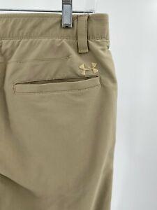 Under Armour Khaki Tan Golf Pants Men's Size 34x30 Loose Lightweight Logo Used