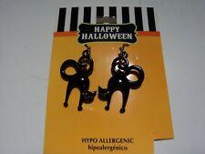 HAPPY HALLOWEEN BLACK CAT Earrings, Fast, Free Ship