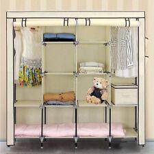 Triple Canvas Wardrobe Hanging Clothes Cupboard Rail Storage Shelves Organiser