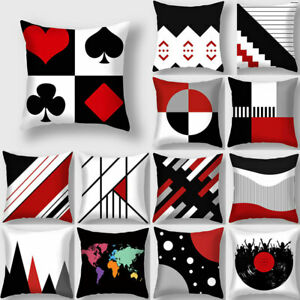 Black Red Geometric Print Polyester Throw Pillow Cases Cushion Cover Home Decors