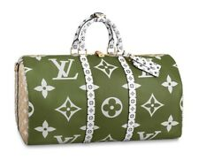 f9fd5f5ab507 Louis Vuitton GIANT Keepall 50 Bandouliere Khaki Green Beige White Large  NEW!