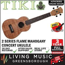 NEW Tiki Mahogany Flame Top Concert Ukulele with Gig Bag (Natural Satin)