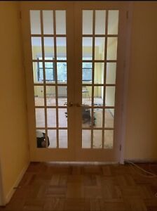 French Doors Interior With Frame And Hardware