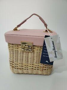 Tommy Bahama Handmade Wicker/Rattan Purse w/Pink Leather Top NWT