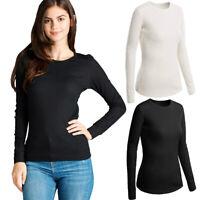 Women Long Sleeve Thermal Shirt Top Plain Basic Crew Neck Knit Waffle Warm S M L