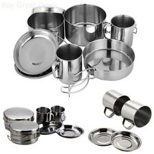 Backpacking Camping Cookware Set Stainless Steel Outdoor Pot Picnic Pan Mug 8Pcs
