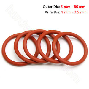 Silicone O-Ring Food Grade Seal Washer Red Rubber O Ring OD 5mm - 80mm -35℃-200℃