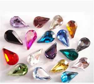 50pcs 8x13mm nail art teardrop rhinestone cut crystal bead point back diy access
