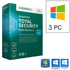 KASPERSKY TOTAL SECURITY 2018  3PC LICENZA 1 ANNO /  100% ORIGINALE