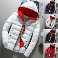 Men's Warm Winter Parka Quilted Padded Hooded Long Jacket Outwear Puffer Coat