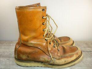 Vintage Leather Work Hunting Moc Soft Toe Boots Crepe Sole Men's Size 8 Wide