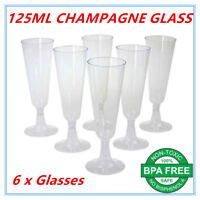 6 x Disposable Plastic Champagne Flutes 125ml Wedding Party Wine Glasses Glass A